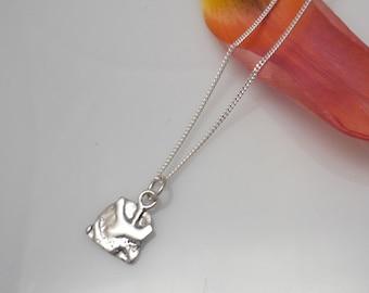 Sterling silver square pendant, silver pendant, minimalist silver pendant, silver necklace, necklace with square medallion, silver necklace