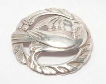 Heavy Sterling Vintage Bird Brooch Large