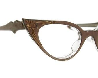 Vintage 60s Winged Cateye Eyeglasses Eyewear Frame France