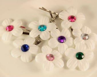 Snap Hair Clips Flower Hair Clips White Flowers Bobby Pins Flower Girl Hair Accessories
