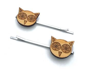 Little Owls. Owl Hair Pin. Hair Pin. Hair Clip. Hair Accessories. Hair Bows. Barrettes. Hair Barrettes. Wood Hair Pin. Kids Gift. For Her.
