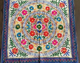 Decorative Cotton Embroidery Patchwork Floral Wall Hanging / Table Runner / Tapestry