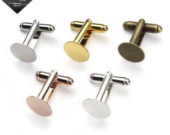 10pcs cuff link blanks-Glue On Cufflinks-Flat Pad Cuff link-Blank Cufflinks with Round flat pad-6mm/8mm/10mm/12mm Glue Pad