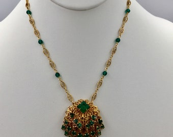 Emerald Jingle - Vintage rhinestone clip-on earring converted to a pendant on gold-fill chain with Swarovski crystals