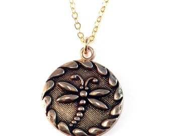 DRAGONFLY Modern Vintage Antique Button Necklace By Compass Rose Design - BRONZE