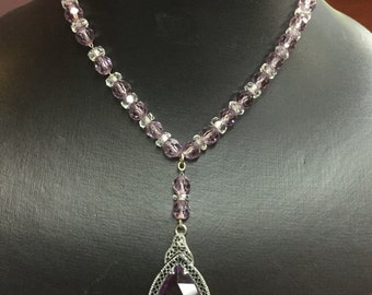 Vintage Clear and Purple Crystal Necklace with Marquise Purple stone Pendant