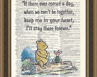 """Winnie the Pooh quote """"If there ever comes a day"""" printed on a vintage dictionary page. Best Friend Gift, Pooh Bear Poster, Nursery Print"""