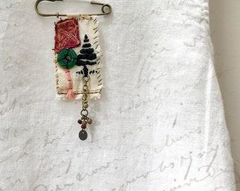 Handmade Brooch with Embroidered Tree— Boho Fabric Pin with Embroidered Tree