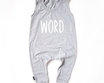 Grey Baby Romper / Toddler Romper - WORD