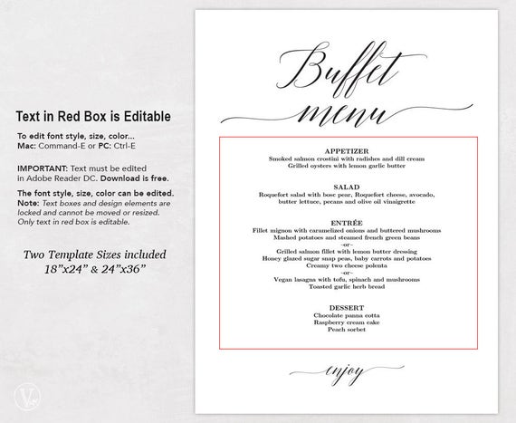buffet menu template - Selo.l-ink.co