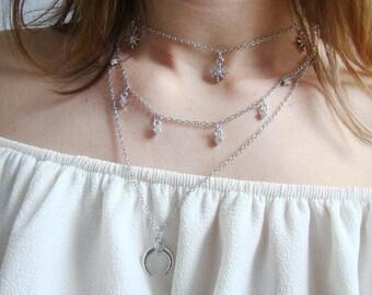 Silver half moon necklace, silver Crescent necklace, necklace star, moon, Crescent, silver, gift PILKATIKO