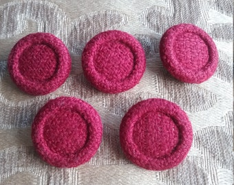 Set of Five Red Wool Covered  Buttons. Medium Sized buttons. 28 mm Sewing buttons, Sewing supplies. C.