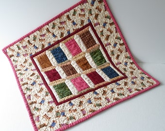 Handmade Mini Art Quilt Spools Quilted Wall Hanging