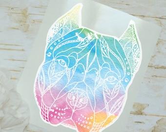 Rainbow Watercolor Pitbull Decal, Tumbler Decal, Printed Decal