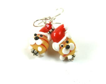 Santa earrings, Santa beaded earrings, Holiday earrings, Christmas earrings