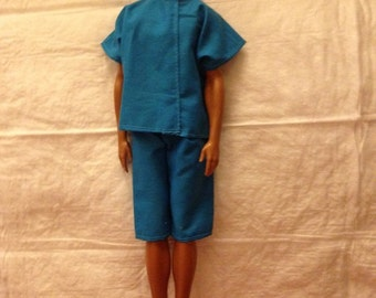 Bright blue shirt & board short set for Male Fashion Dolls - kdc46