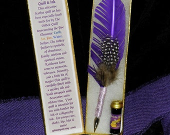 AETHER (Spirit) Elemental QUILL Dip Pen and Scented INK Set, Pagan, Magic, Cosplay