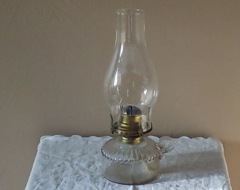 Antique Glass Kerosene Lamp Oil Lamp Finger Lamp Queen Anne Burner Chimney