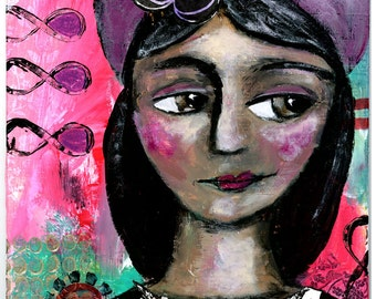 Purple Gypsy Girl with Polka Dots, Mixed Media Original Painting, 8x10 inches, She Never Stopped Questioning