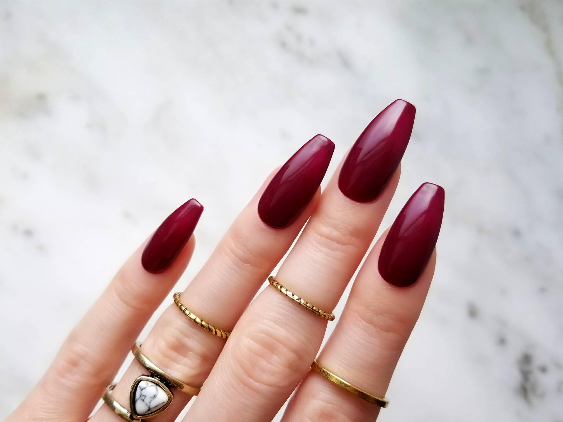 Glossy burgundy Press on nails Hand painted with gel for the