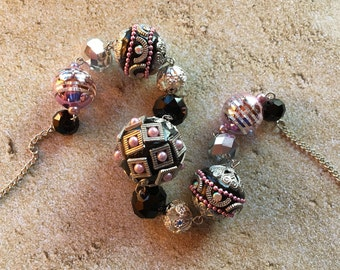 Lampwork Necklace Silver and Pink Necklace, Glass Beaded Necklace, Beadwork Necklace, Statement Necklace, Gifts For Her