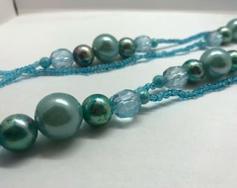 Light Blue Womens Wrap Around Necklace, Extra Long Necklace, Handmade, One-of-a-kind!