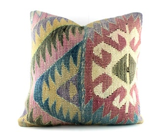 Kilim Pillow Kilim Pillows 20x20 Kilim Pillow Cover Decorative Pillows For Couch Kilim Cushion Turkish Kilim Throw Pillow Kilim Sofa Pillow