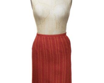 vintage 1950's striped pencil skirt / Petti Junior Sportswear / red orange / wool / ombre / women's vintage skirt / tag size 9/10