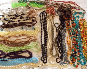 Lot 29 long beaded necklaces, huge variety of bead type size color composite most 40 to over 60 inches long