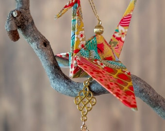 Authentic Large Origami Paper Crane ornament, Peace Crane Ornament