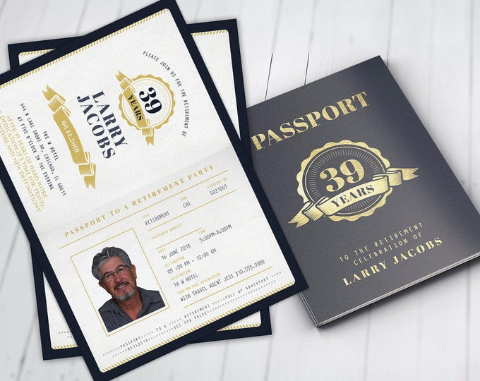 Retirement Party Invitation, Bon Voyage, travel, passport, destination, invite, birthday, travel theme, Passport, Digital files only