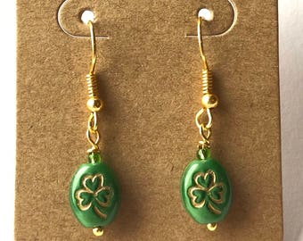 St. Patrick's Day Green Four Leaf Clover Earrings