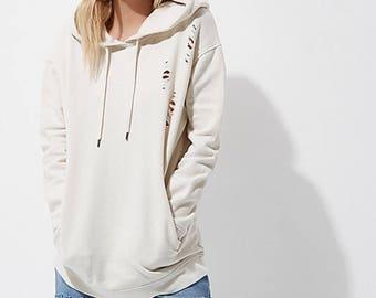 Distressed hoodie, distressed sweater, womens sweater, womens hoodie, ripped hoodie S M L XL  black hoodie pink hoodie