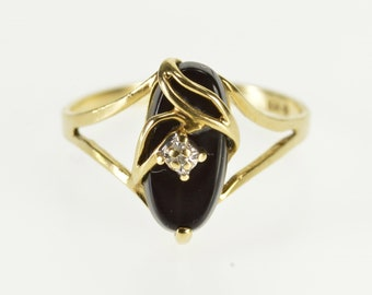 10k Marquise Black Onyx Leaf Diamond Overlay Ring Gold
