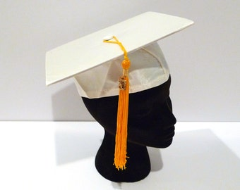 White Graduation Cap and Cords Vintage 70s High School Honor Society Cap 1976 Bicentennial Charm Gold Cords Tassel Mortar Board Costume