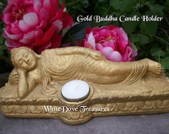 "GOLD BUDDHA SLEEPING Reclining 10""x5""~ Tea Light Candle Holder ~ Asian, Zen, Garden, Buddhist Altar, Meditation Decor Light ~ Heavy Stone"