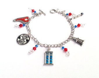 Doctor Who Charm Bracelet with TARDIS charm | Comicon | Cosplay | Gallifrey | Dalek | Sonic Screwdriver | 10th Doctor | Rose Tyler |