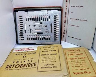1959 VINTAGE AUTOBRIDGE BUNDLE. play-yourself bridge game bundle. Contract bridge board, bridge book , card games, 1950s classic card games