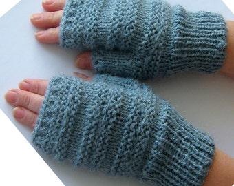 Sale gloves Blue  fingerless gloves   Wool