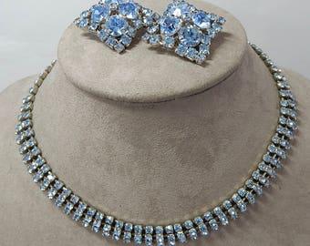 KRAMER Signed  Blue Rhinestone Choker Necklace and Earrings   OY20