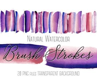 Pink watercolor brush strokes clipart, Purple brush strokes clip art, Watercolor Paint, Paint splatters, Design elements, Logo, Blog