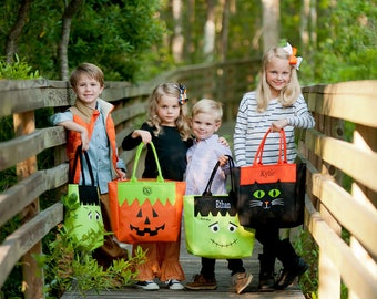Personalized Halloween Character Tote - Cat, Frankenstein or Jack-o-Lantern - Monogram Halloween