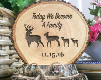 Rustic Wedding Cake Topper, Wood Cake Topper, Blended Family Cake Topper,  Custom Engraved Cake Topper, Family Deer Topper, Wedding Keepsake