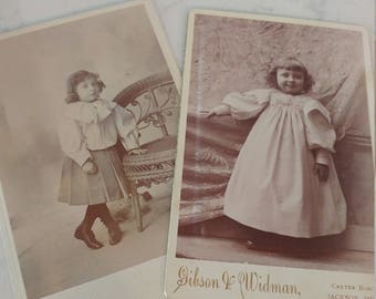 Check Out Russell's Curls: Lot of 2 Cabinet Cards Featuring Russell B Reed at Ages 2 & 3, Two Different Photographers From Jackson, Michigan