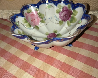 French Garden Floral Roses Handpainted Footed Bowl