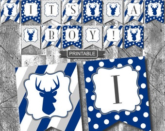DIY Printable Navy Blue Gray Deer Stag Baby Shower Decorations Banner Bunting Flags Boy Baby Shower PDF Instant Download-It's A Boy!