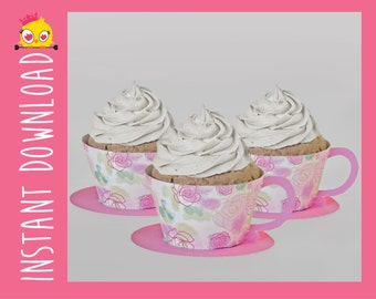 Teacup and Saucer Cupcake Wrappers PDF