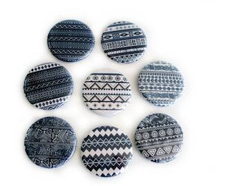 Geometric Tribal Magnet Set in Navy - Boho Fridge Magnets - Refrigerator Magnets - Bohemian Home Office Decor - Housewarming or Hostess Gift