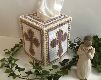 Tissue Box Cover,Purple and White,Gold Celtic Cross,Handmade Tissue Box Cover,Handmade Tissue Holder, Housewarming Gifts,Home Decor