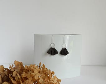 Earrings geometric gray mice in tassels
